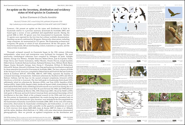 Eisermann, K. & C. Avendaño (2018) An update on the inventory, distribution and residency status of bird species in Guatemala. Bulletin British Ornithologists' Club 138: 148-229.