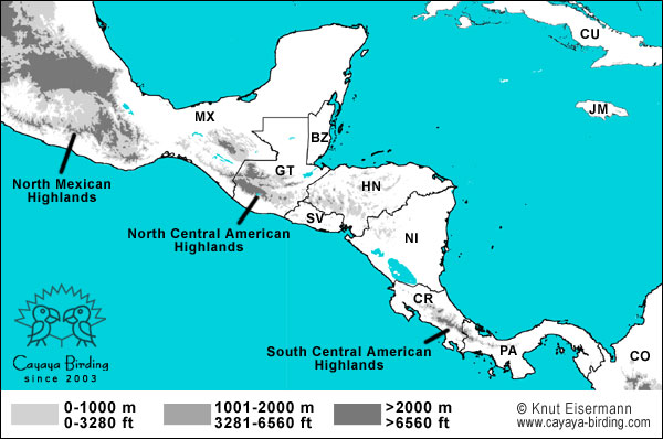 Birding Central America with CAYAYA BIRDING on map of saint lucia highlands, peru highlands, map of guiana highlands, map of latin america and its landforms, map of argentina with lakes labeled, map of red sea highlands, map of scotland highlands,
